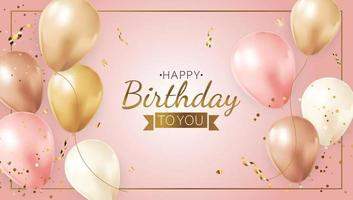 Happy Party Birthday Background with Realistic Balloons, frame and confetti. Vector Illustration