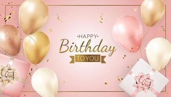 Happy Party Birthday Background with Realistic Balloons, frame, gift box and confetti. Vector Illustration