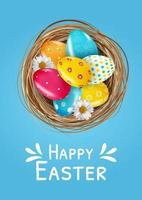 Easter poster template set with 3d realistic  Easter eggs in nest.  Template for advertising, poster, flyer, greeting card. Vector Illustration