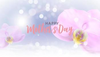 Happy Mothers Day Background with Realistic orchid flowers. Vector Illustration