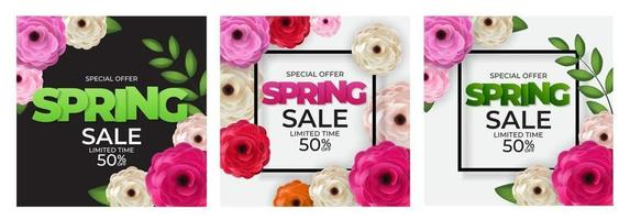 Spring Natural Special Offer Sale Background Collection Poster Flowers and Leaves Template. Vector Illustration