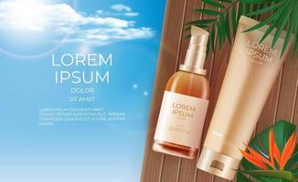 Fondo de botella de crema de producto de belleza realista 3d. plantilla de diseño de producto cosmético de moda. ilustración vectorial vector