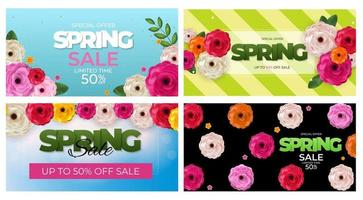 Spring Natural Special Offer Sale Background Set Poster Flowers and Leaves Template. Vector Illustration