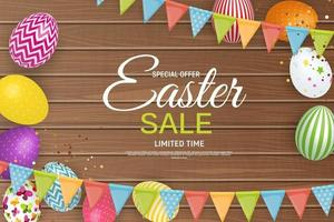 Abstract Happy Easter Background with Eggs and Garland Flags. Vector Illustration