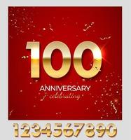 Anniversary celebration decoration. Golden number 100 with confetti, glitters and streamer ribbons on red background. Vector illustration