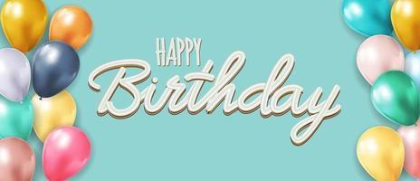 feliz cumpleaños fondo azul con globos realistas. ilustración vectorial