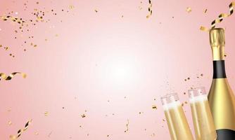 Realistic 3D champagne Golden Bottle and Glasses on Pink background. Vector Illustration