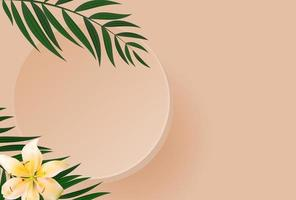 3D Realistic Background with podium and palm leaves. Design Template for Fashion Cosmetics Product. Vector Illustration