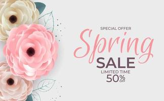 Spring Offer Sale Background Poster Natural Flowers and Leaves Template. Vector Illustration