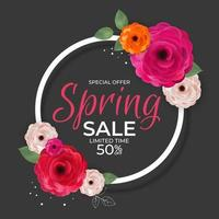 Spring Special Offer Sale Ads Poster Natural Background with Flowers and Leaves Template. Vector Illustration