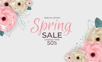 Beauty Spring Special Offer Sale Background Poster Natural Flowers and Leaves Template. Vector Illustration