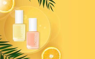 fondo de verano de esmalte de uñas. plantilla de producto cosmético para publicidad, revista, muestra de producto. ilustración vectorial vector