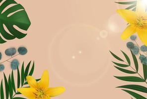 Abstract Natural Background with Tropical Palm, Eucalyptus Leaves and lilly flower. Vector Illustration