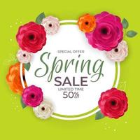 Spring Bright Special Offer Sale Poster Natural Background with Flowers and Leaves Template. Vector Illustration