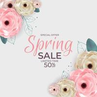 Spring Special Offer Sale Poster Natural Background with Flowers and Leaves Template. Vector Illustration