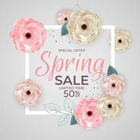 Spring Special Offer Sale Frame Poster Natural Background with Flowers and Leaves Template. Vector Illustration