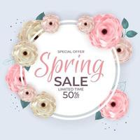 Spring Special Offer Sale Circle Frame Poster Natural Background with Flowers and Leaves Template. Vector Illustration
