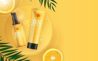 Botella de crema de protección solar realista 3d sobre fondo amarillo soleado con hojas de palmera y naranja. plantilla de diseño de producto cosmético de moda. ilustración vectorial vector
