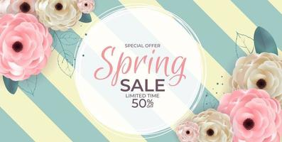 Spring Natural Special Offer Sale Background Poster Flowers and Leaves Template. Vector Illustration