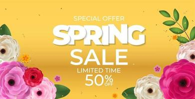 Spring Yellow Sale Background Poster Natural Flowers Template. Vector Illustration