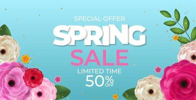 Spring Blue Sale Background Poster Natural Flowers Template. Vector Illustration