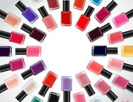 Fondo de colección de esmalte de uñas con lugar para texto. plantilla de producto cosmético para publicidad, revista, muestra de producto. ilustración vectorial vector
