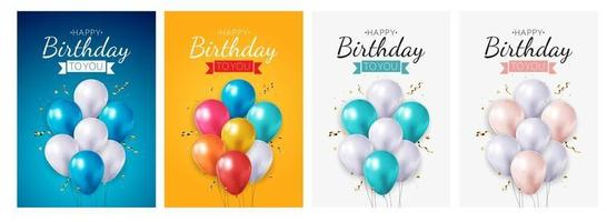 Realistic 3d balloon birthday background for party, holiday, promotion card, poster collection set. Vector Illustration