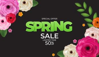 Black Spring Sale Background Poster Template. Vector Illustration
