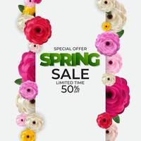 Spring Sale Background Poster Natural Flowers Template. Vector Illustration
