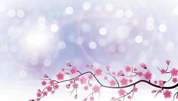 Glossy Spring Background with Sakura Flowers. Vector Illustration