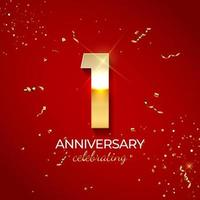 Anniversary celebration decoration. Golden number 1 with confetti, glitters and streamer ribbons on red background. Vector illustration