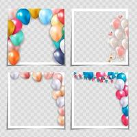 Party Holiday Photo Frame Template Collection set on transparent bqackground for post in Social Network. Vector Illustration