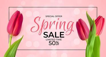 Spring Sale Template Background with realistic Tulip Flower, Frame and lights. Vector Illustration