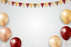 Party Glossy Holiday Background with Balloons, garland and confetti. Vector Illustration