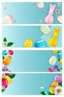 Easter empty poster template set with 3d realistic Easter eggs and paint. Template for advertising, poster, flyer, greeting card. Vector Illustration