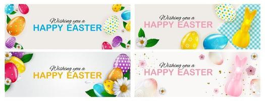 Easter poster template set with 3d realistic Easter eggs and paint. Template for advertising, poster, flyer, greeting card. Vector Illustration