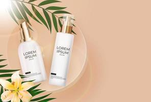 3D Realistic sun Protection Cream Bottle on beige Background with palm leaves, lilly flower and podium. Design Template of Fashion Cosmetics Product. Vector Illustration