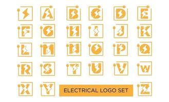 vector de diseño de conjunto de logotipo eléctrico inicial de letra