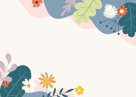 Abstract spring and summer flat simple natural background with flowers, plant and copy space for banner, greeting card, poster