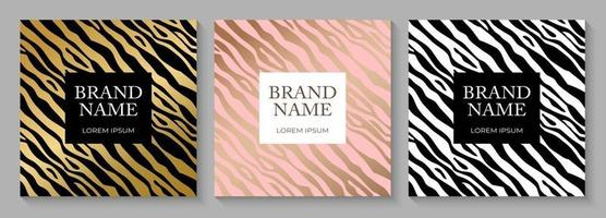 Fashionable Luxury Zebra pattern cover design collection set, animal print for brochure, notebook template. Vector Illustration