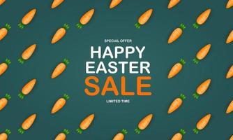 Easter Sale poster template with 3d Cute Carrot. Template for advertising, poster, flyer, greeting card. Vector Illustration