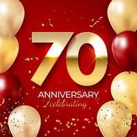 decoración de celebración de aniversario. número de oro 70 con globos, confeti, brillos y cintas de serpentina sobre fondo rojo. ilustración vectorial vector