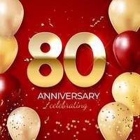 decoración de celebración de aniversario. número de oro 80 con confeti, globos, brillos y cintas de serpentina sobre fondo rojo. ilustración vectorial vector