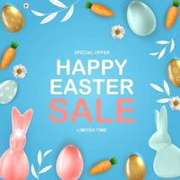 Happy Easter sale poster template with 3d realistic Easter eggs, bunny, carrot.  Template for advertising, poster, flyer, greeting card.  Vector Illustration