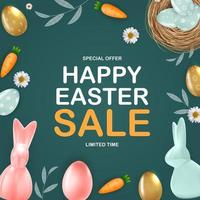 Happy Easter sale poster template with 3d realistic Easter eggs, bunny, carrot, daisy flower.  Template for advertising, poster, flyer, greeting card.  Vector Illustration