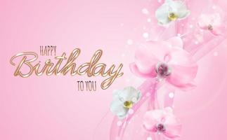 Realistic beauty 3d pink orchid flower background. Happy Birthday Concept Background. Vector Illustration