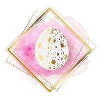 Easter Egg with paint splash and golden frame. Vector Illustration