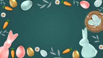 Easter poster template frame with 3d realistic Easter eggs, bunny and Carrot. Template for advertising, poster, flyer, greeting card. Vector Illustration