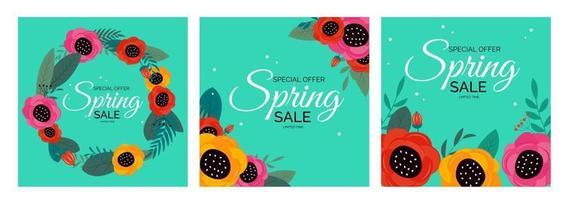 Spring Sale Natural Flower Collection Set Background. Vector Illustration