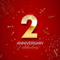 decoración de celebración de aniversario. número de oro 2 con confeti, brillos y cintas de serpentina sobre fondo rojo. ilustración vectorial vector